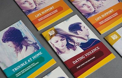 Media on Mars project thumbnail: Printed brochures in a row including Dating Violence and Life Respect