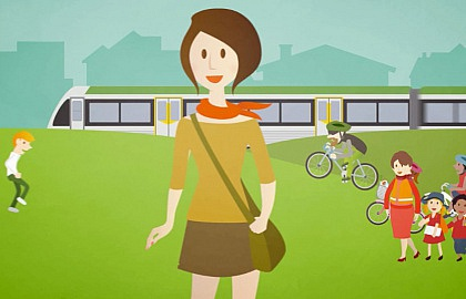 Media on Mars project thumbnail: Illustration of woman walking in a park with a TransPerth train in the background.