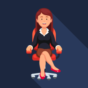 Media on Mars blog post thumbnail: woman sitting in office chair illustration