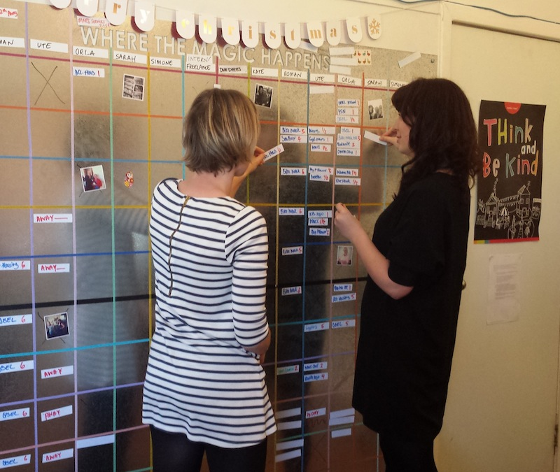 Two women adding tasks to a magnetic board