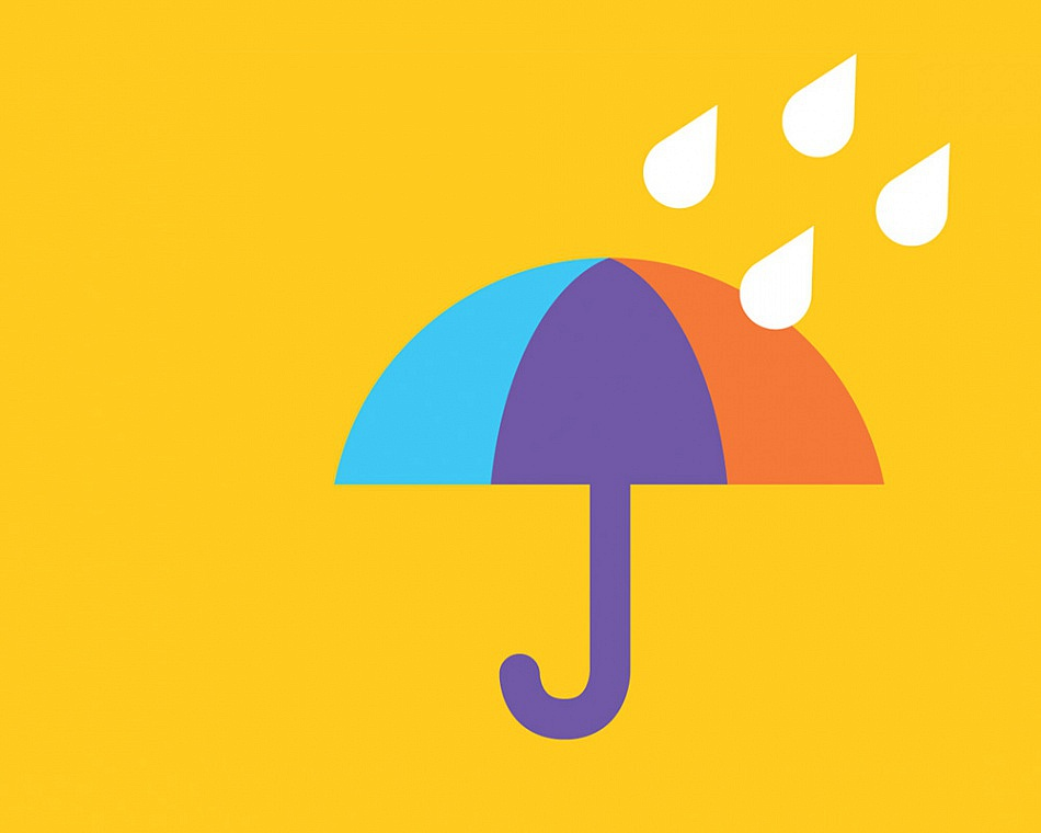 Icon of colourful umbrella in rain