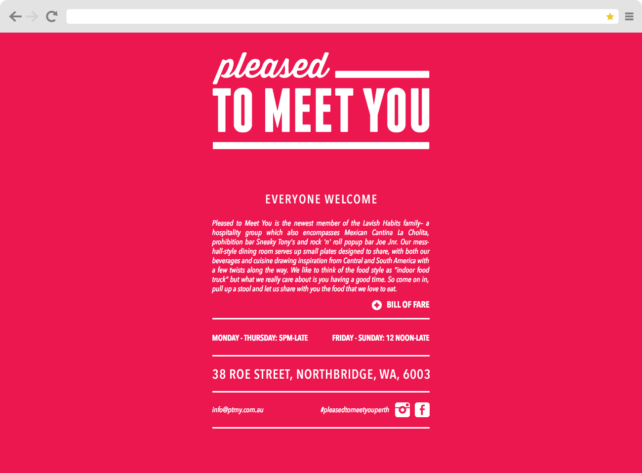 Screen grab of the Pleased to Meet You website homepage