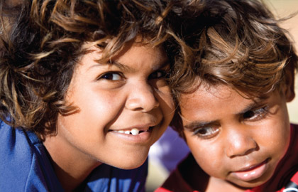 Media on Mars project thumbnail: Two aboriginal children smiling