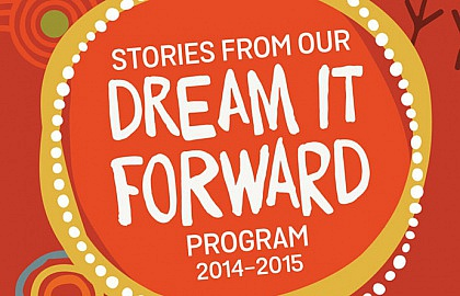 Media on Mars project thumbnail: Dream it Forward logo with indigenous illustrations