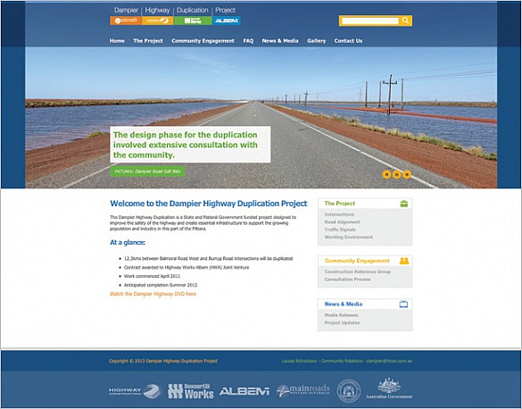 Dampier Highway Website Screenshot