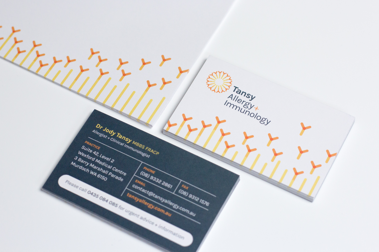 Tansy Allergy letterhead and business cards