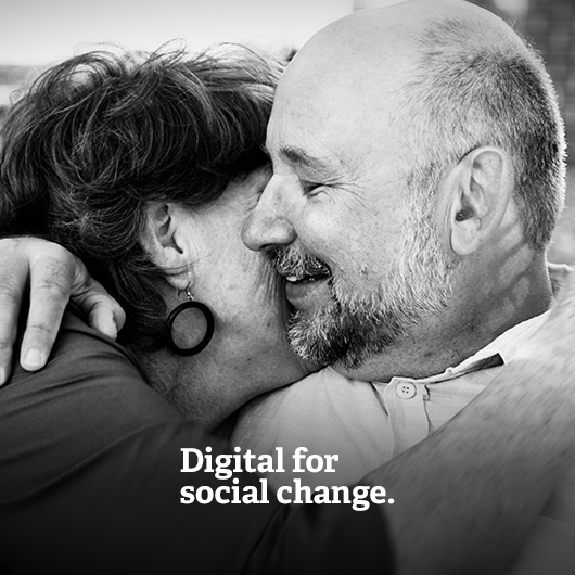 Media on Mars service thumbnail: Image of middle-aged couple embracing with the text