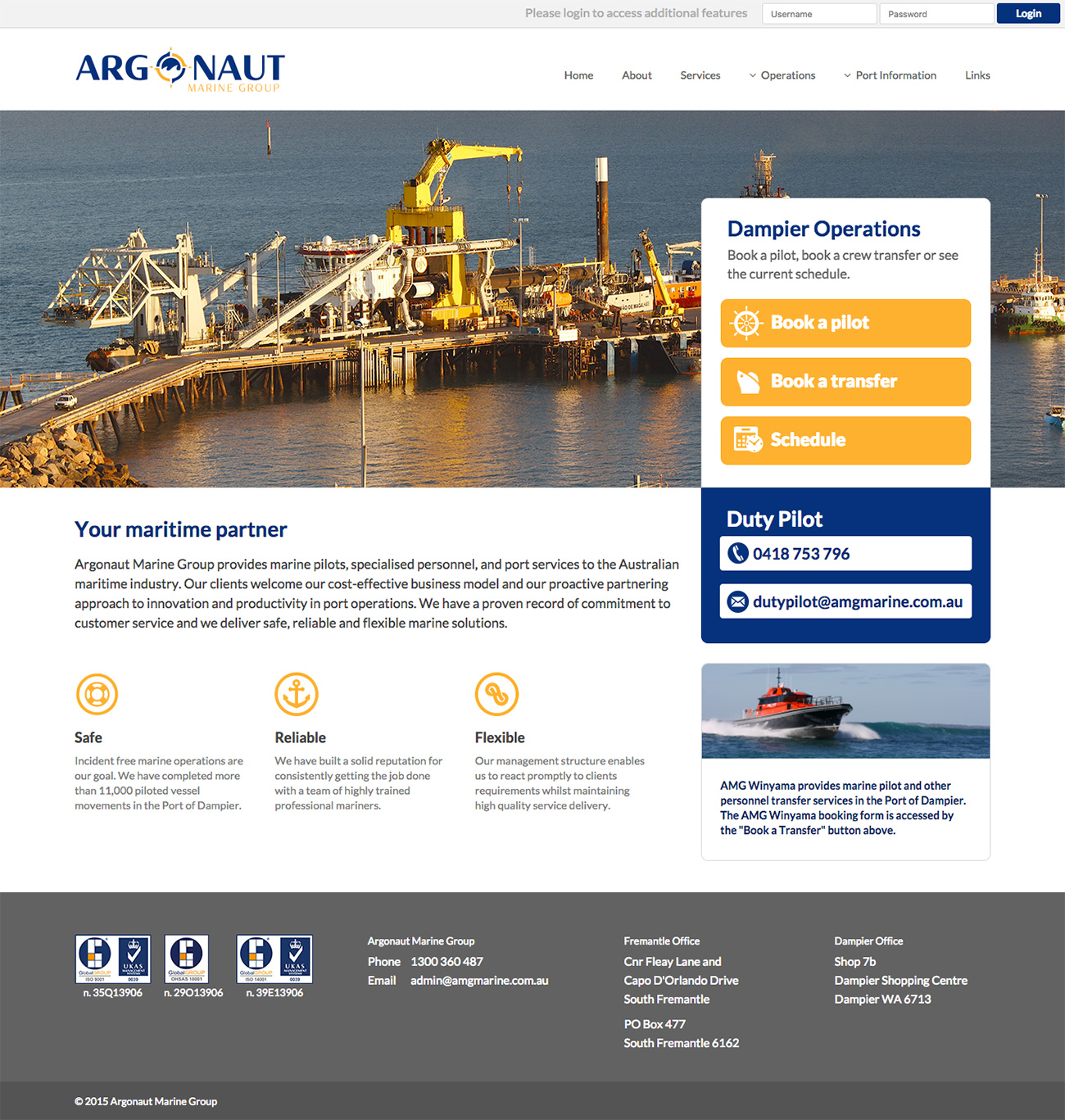 Screen grab of the Argonaut Marine Group website homepage