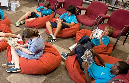 Media on Mars project thumbnail: Kids sitting on bean bags reading