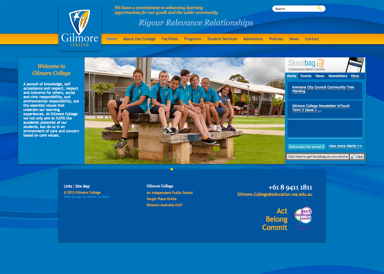 Screen grab of Gilmore College website homepage