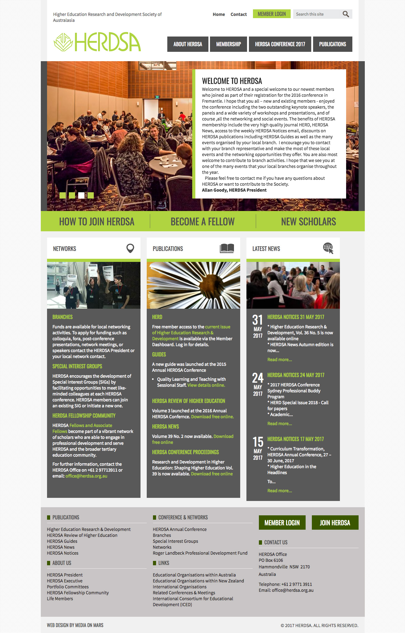 Screen grab of HERDSA website homepage