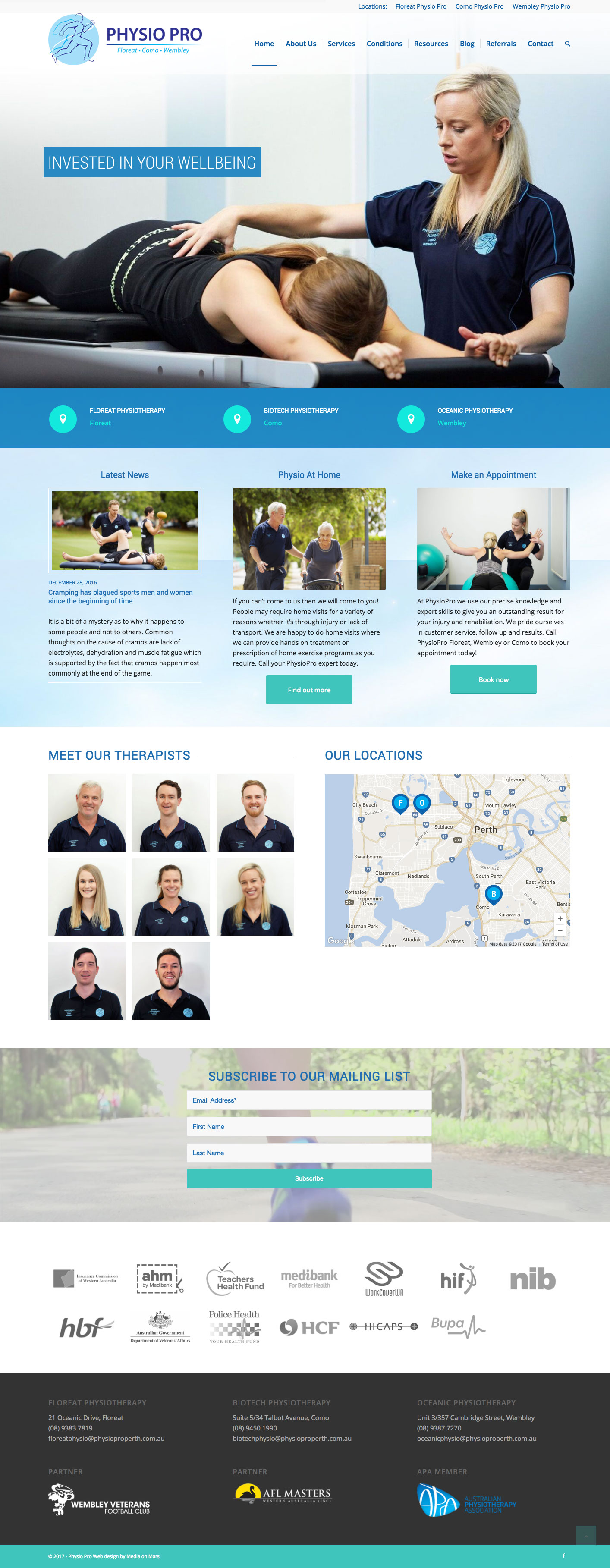 Physio Pro website screen grab
