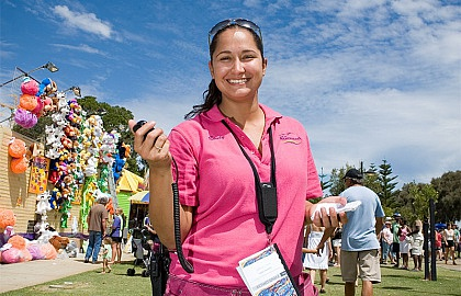 Media on Mars project thumbnail: Young Mandurah woman smiling. She is outside at a fair