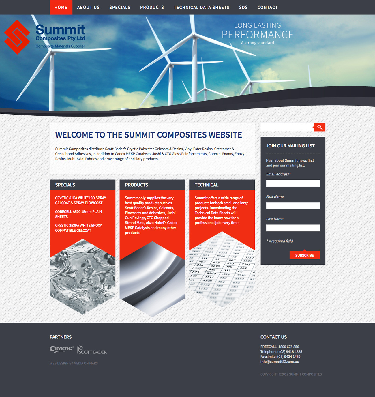 Screen grab of Summit Composites website homepage