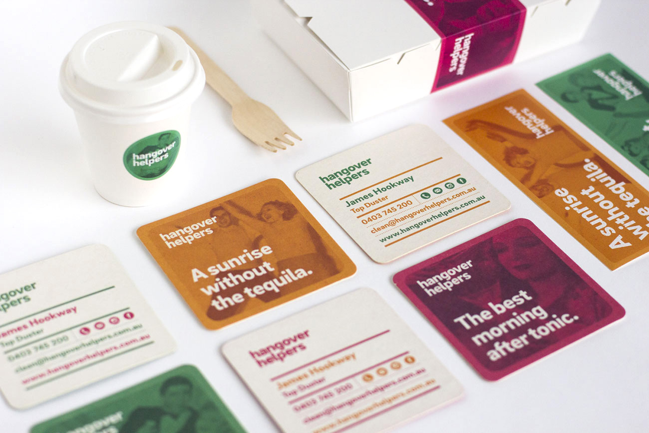 Image of branded items from the Hangover Helpers project: coaster, lunch box, coffee cup and stickers