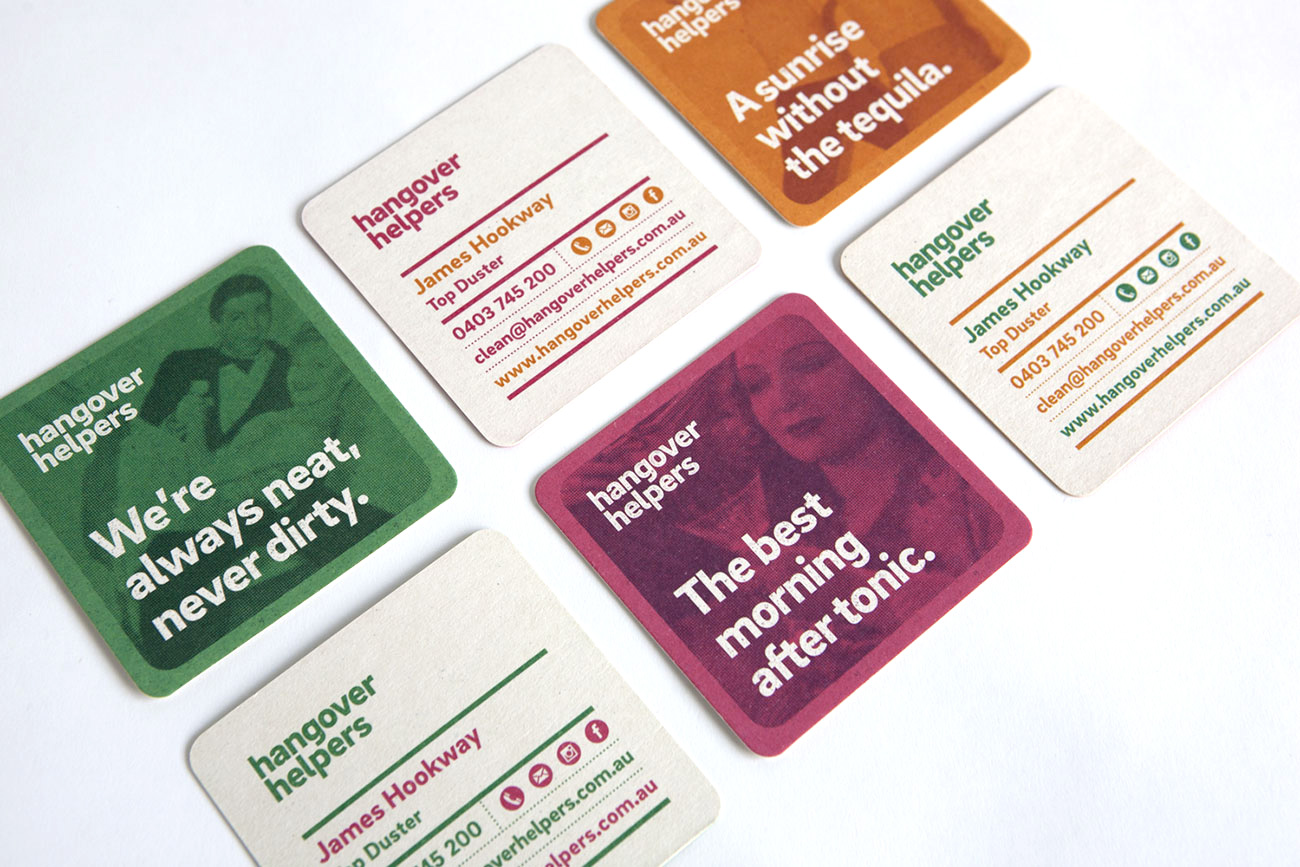 Image of branded items from the Hangover Helpers project: coasters