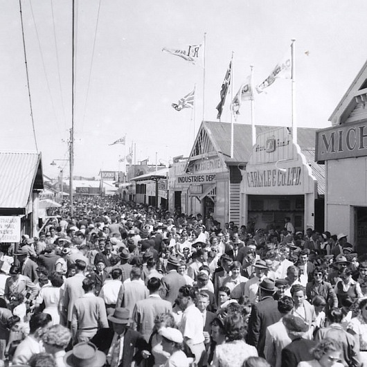Old black and white image of the crowd at The Royal Show Perth