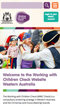 Working With Children Check: mobile phone screenshot