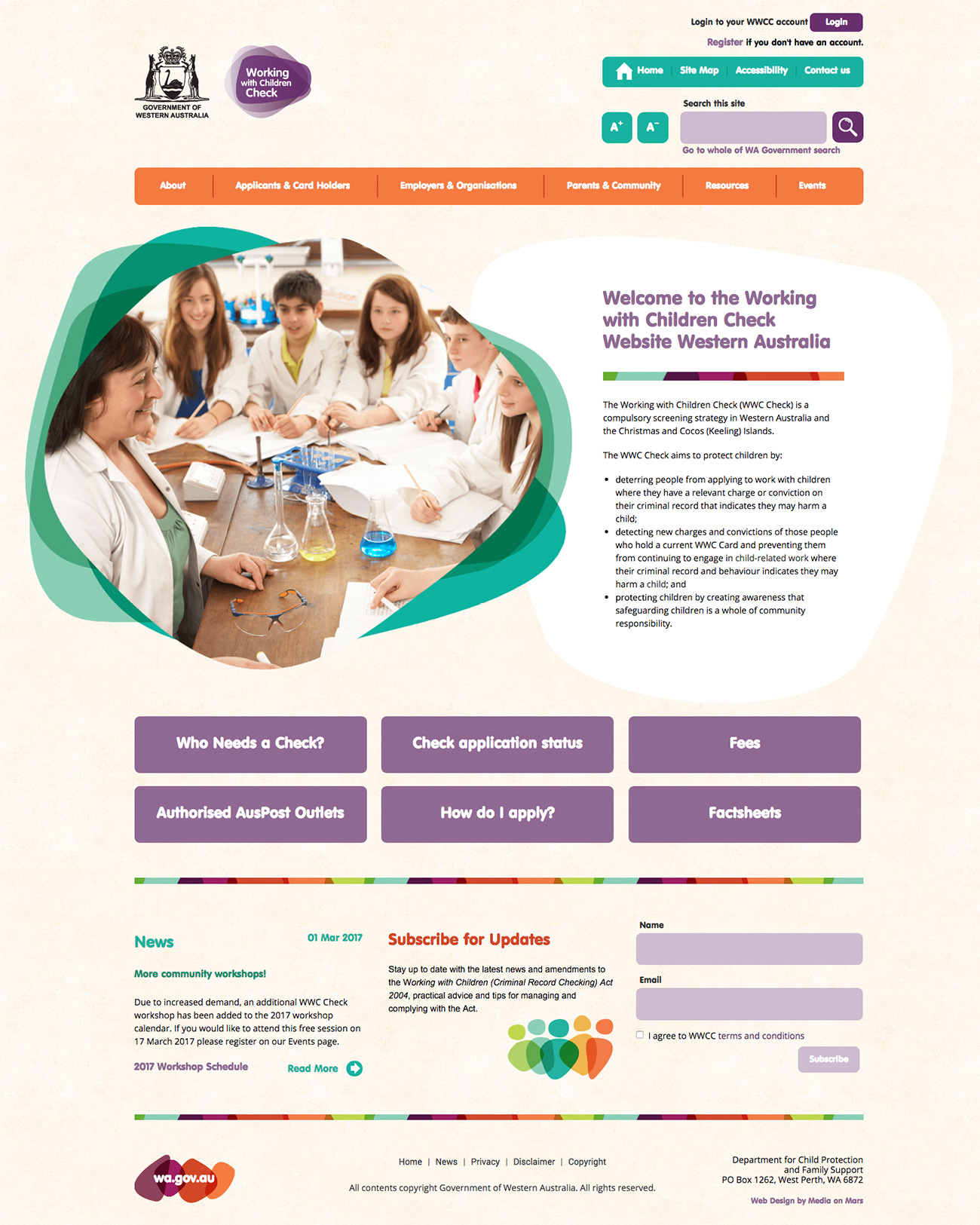 Website desktop homepage of Working With Children Check website