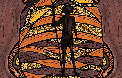 Media on Mars project thumbnail: Graphic showing man standing in front of Aboriginal artwork