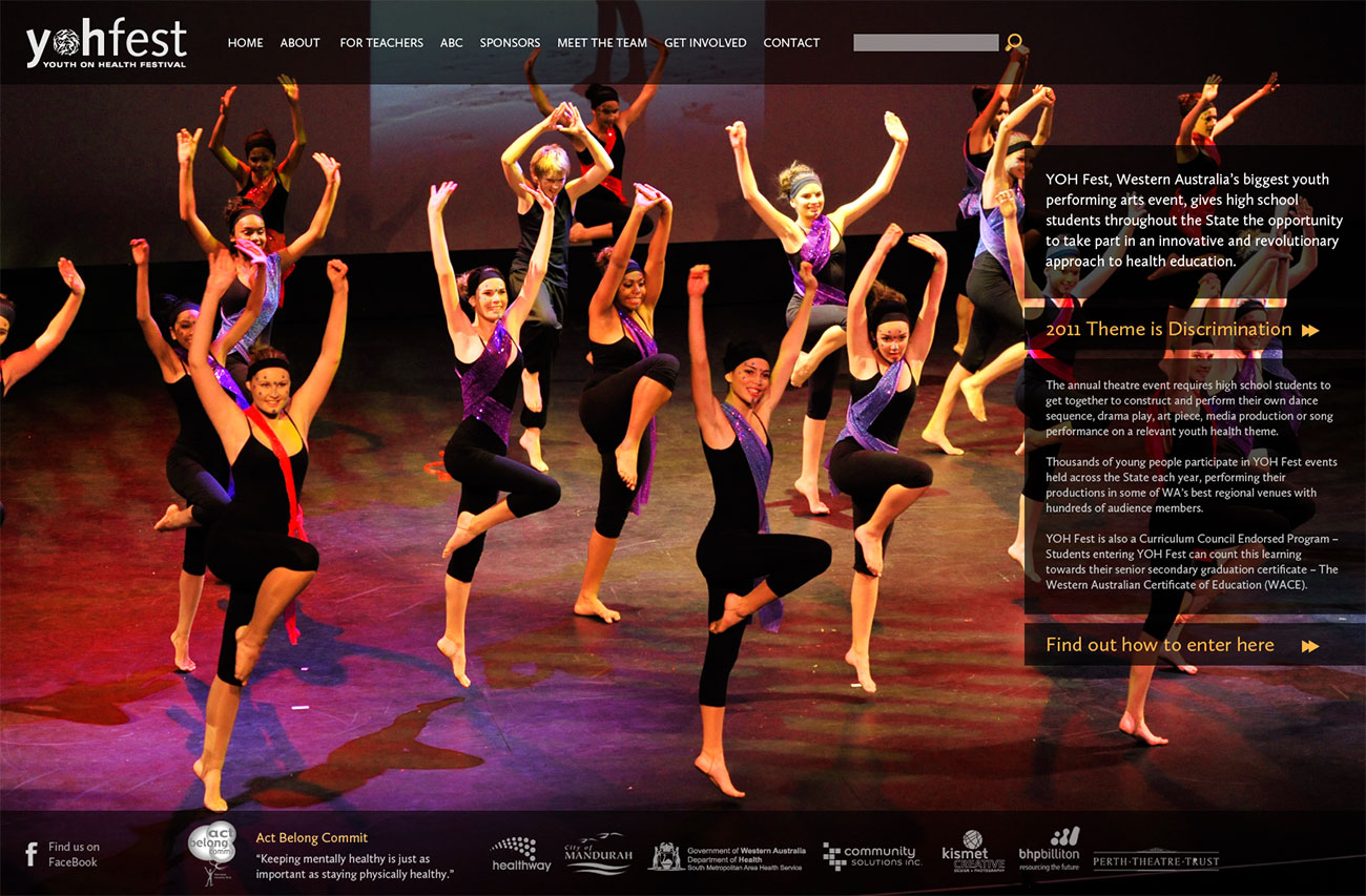 Screen grab of a website with a large full screen image of people dancing