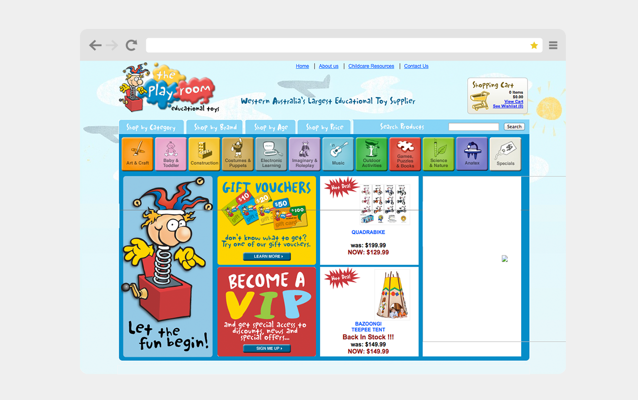 The Play Room's old website, before our brand refresh