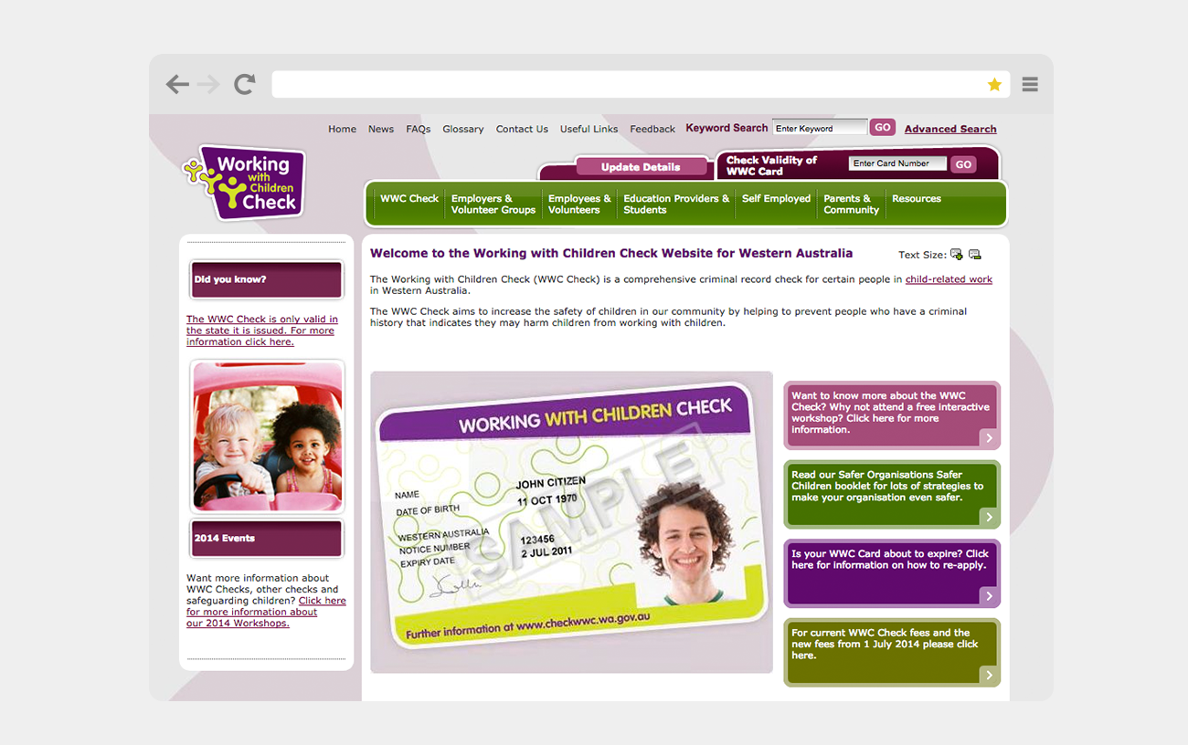 Working With Children Check's old website, before our brand refresh