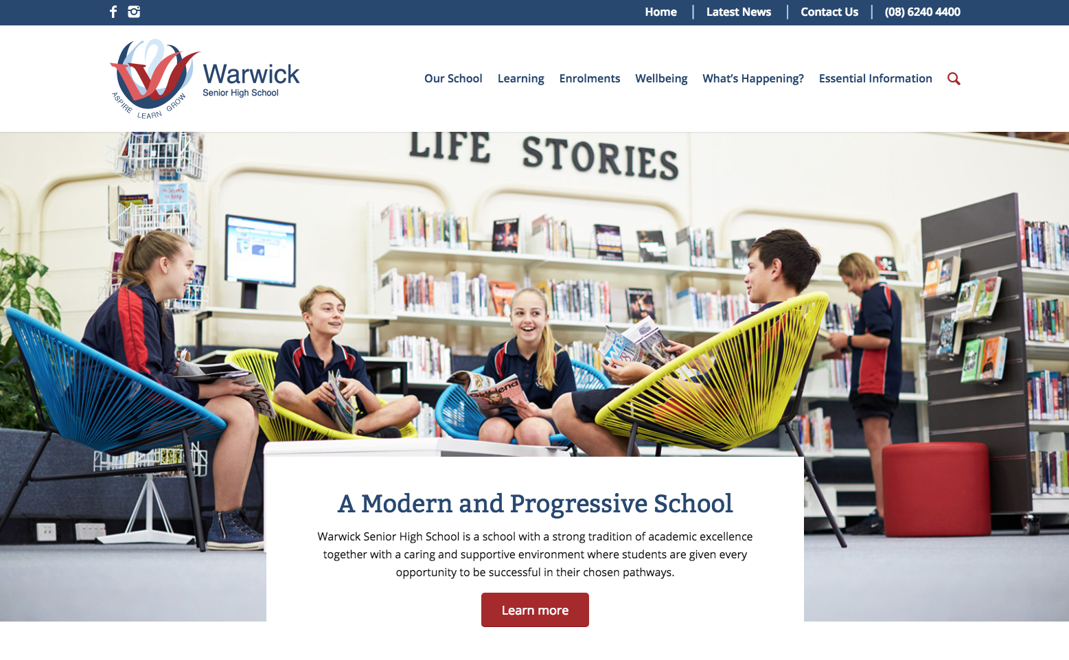 Screenshot of Warwick Senior High School's new website