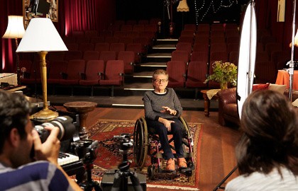 Media on Mars video thumbnail: Helen Errington, a wheelchair user, is interviewed by a man with a camera and a woman